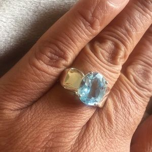 Jewelry - Genuine blue topaz sterling silver ring